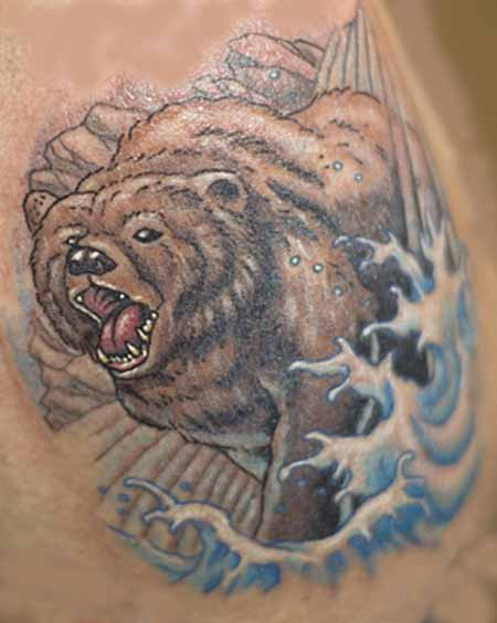 Animal In Wave Tattoo