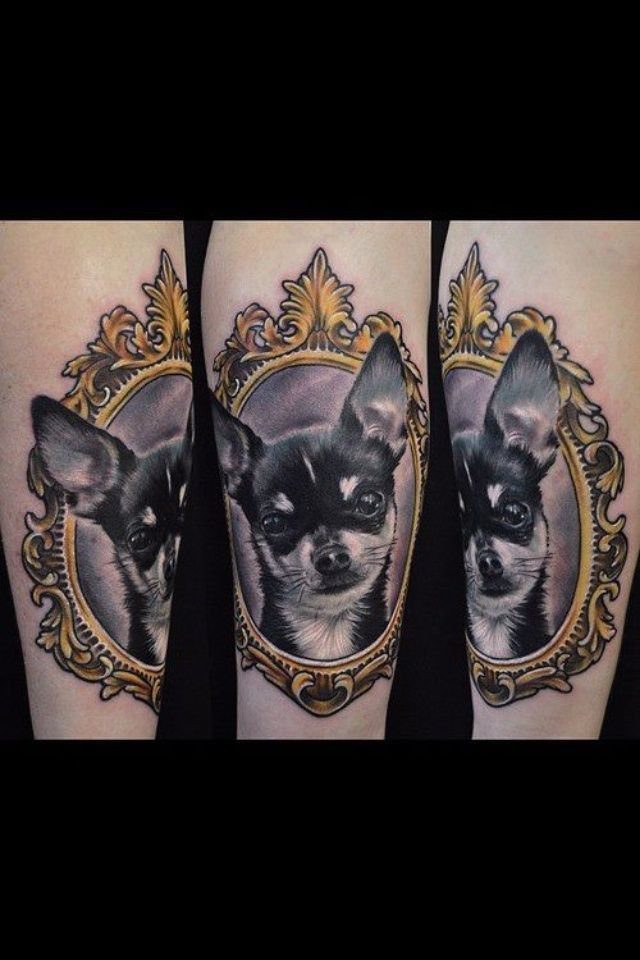 Animal Portrait In Frame Tattoo