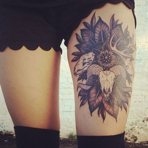Animal Skulls And Leave Tattoos On Thigh