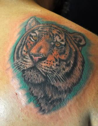 Animal Tiger Portrait Tattoo On Back Shoulder
