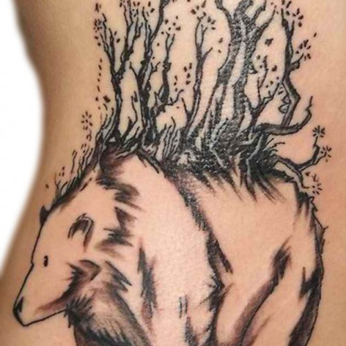 Animal Tree Tattoo On Side