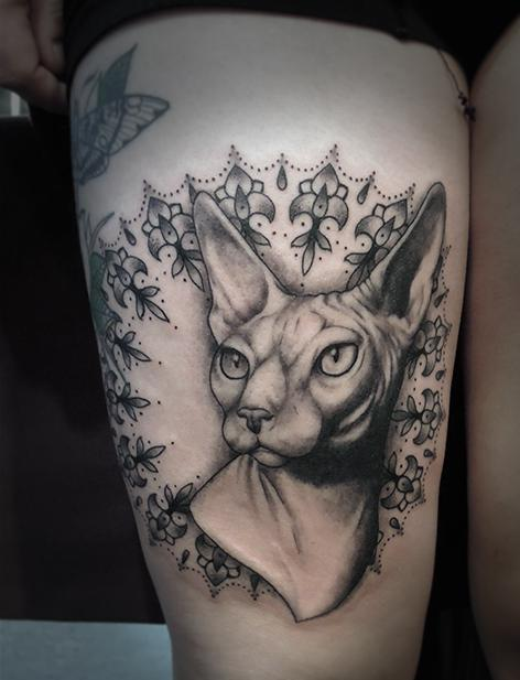 Animal Watermarked Tattoo On Thigh
