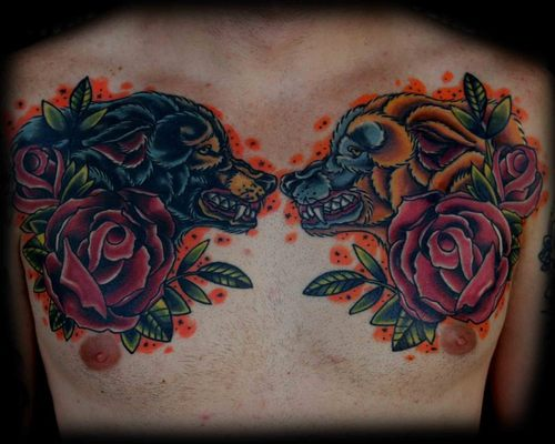 Animals And Rose Tattoos On Chest For Men