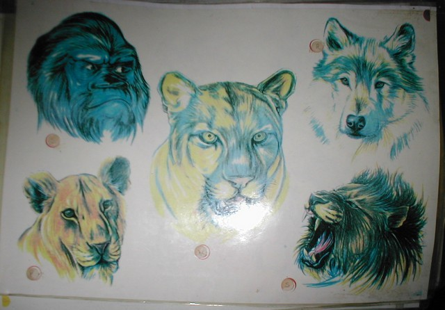 Animals Tattoo Designs On White Sheet