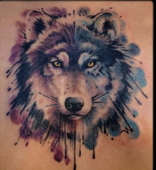 Another Watercolor Wolf Tattoo