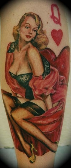Appealing Queen of Hearts Pin Up Tattoo