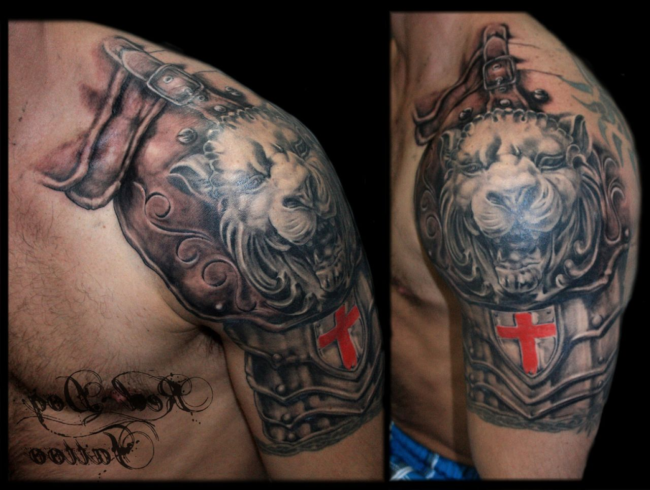 Armor And Lion Tattoos On Shoulder (2)