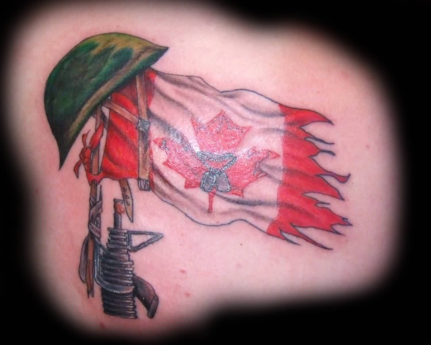 Army Helmet On Gun And Flag Tattoos