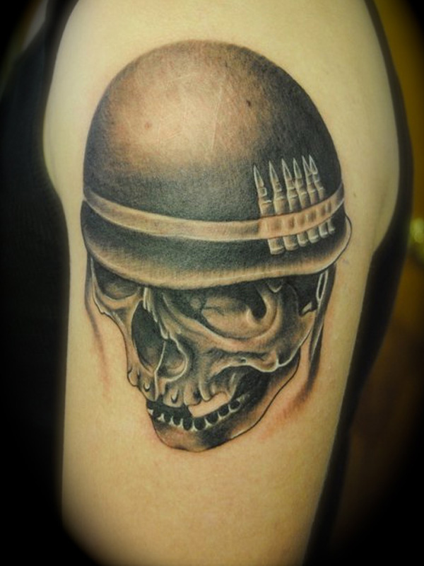 Army Skull In Helmet Tattoo On Biceps
