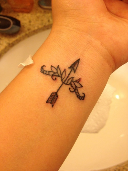 Arrow And Bow Tattoos on Inner Wrist