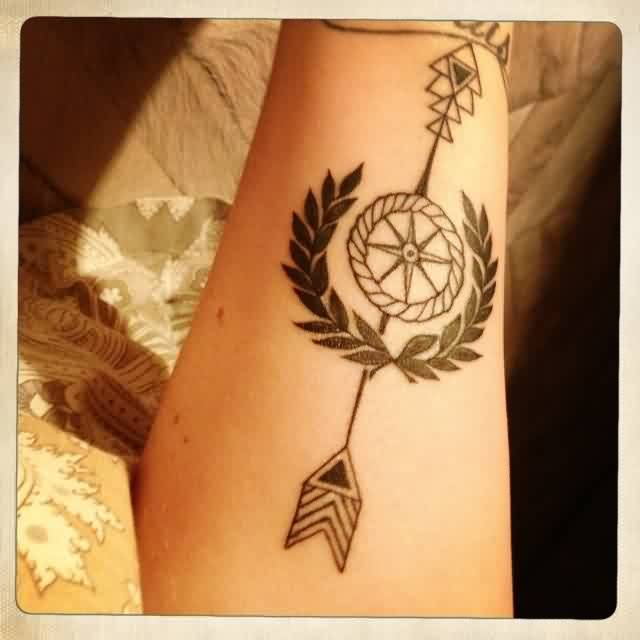 Arrow Compass And Fern Tattoos On Forearm