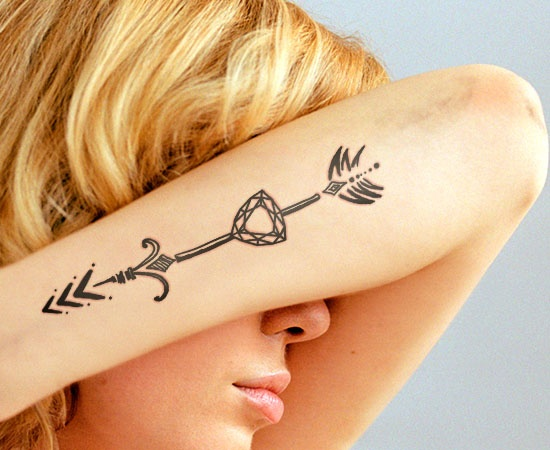 Arrow Diamond Tattoo On Arm