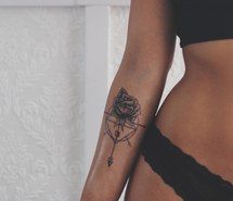 Arrow Dreamcatcher With Rose Tattoo On Forearm