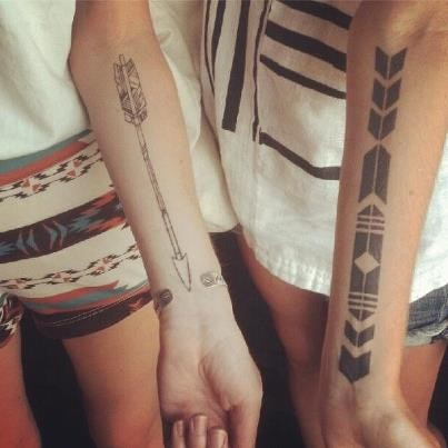 Arrow Tattoos On Forearm For Best Friends
