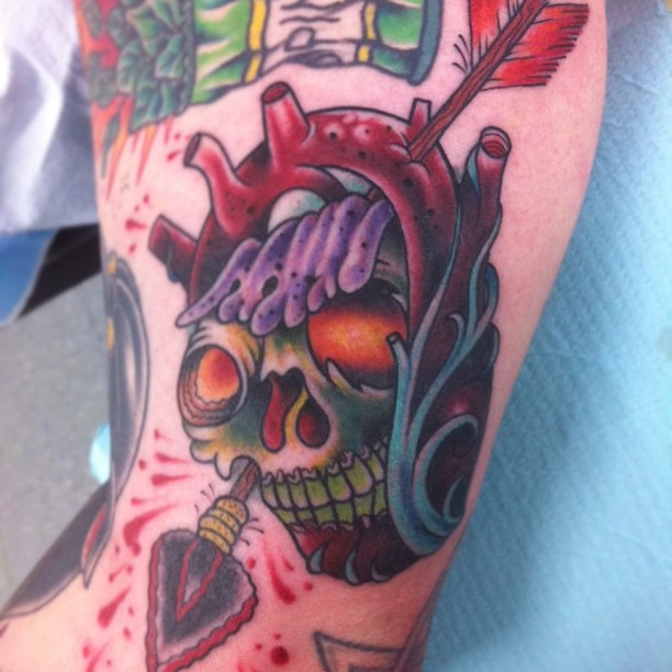 Arrow Through Heart Skull Tattoo