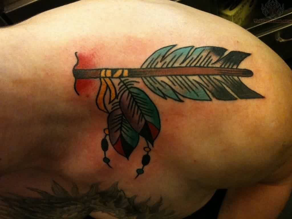 Arrow With Feather Through Neck Tattoo