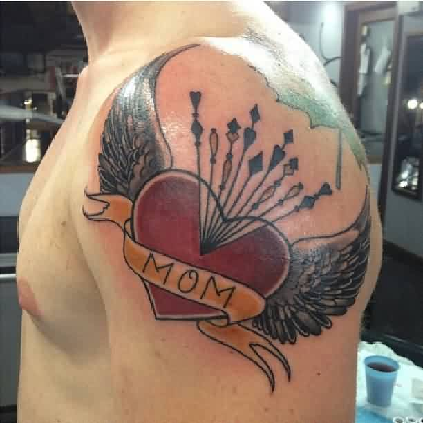 Arrows In Red Heart Tattoo On Shoulder