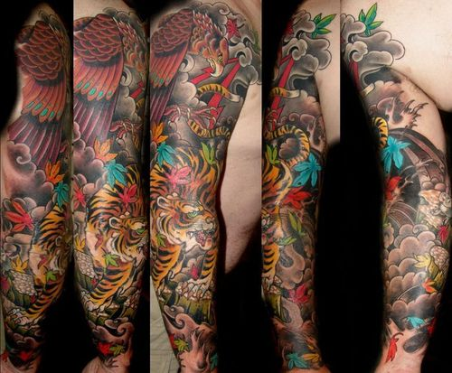 Asian Animal And Bird Tattoos On Sleeve