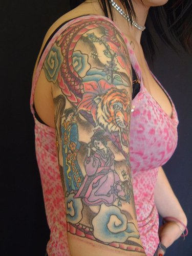 Asian Animal And People Tattoos On Half Sleeve