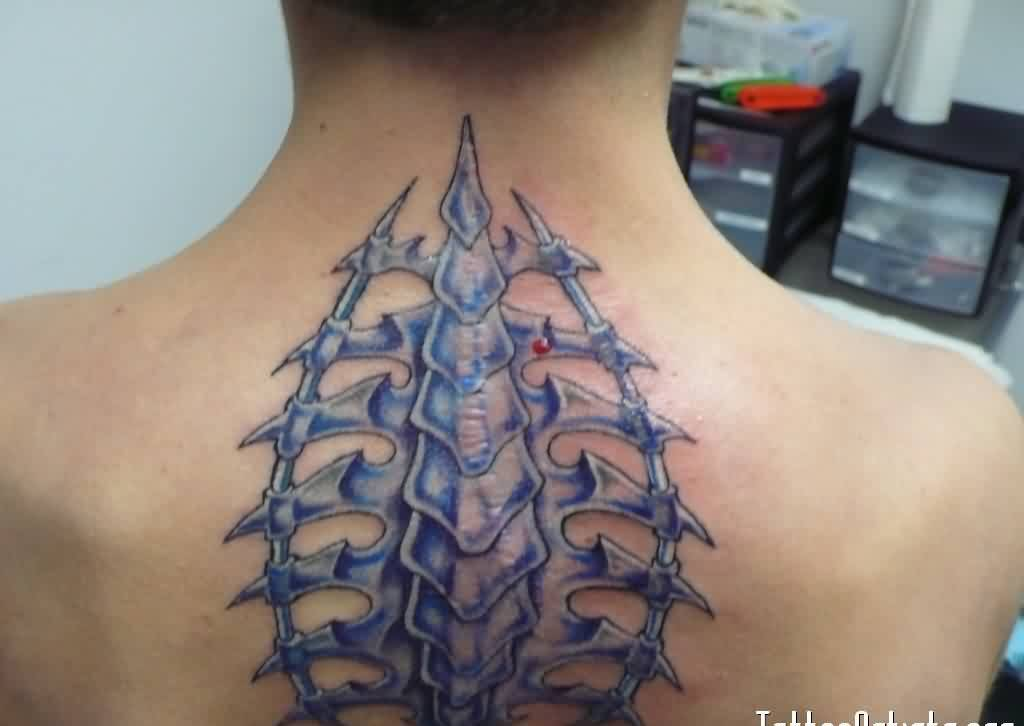 Attractive Biomechanical Bones Tattoo