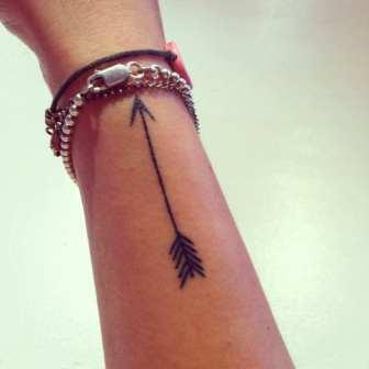 Attractive Black Arrow Tattoo On Side Of Wrist