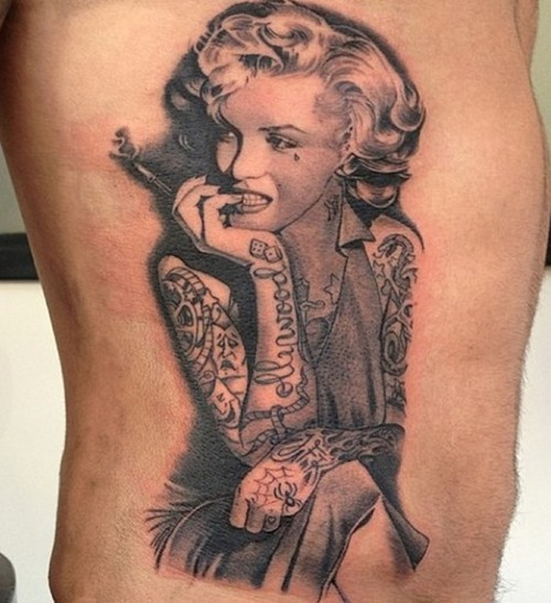 Attractive Grey Ink Portrait Tattoo