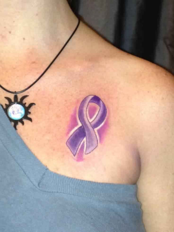 Attractive Purple Cancer Ribbon Tattoo On Chest