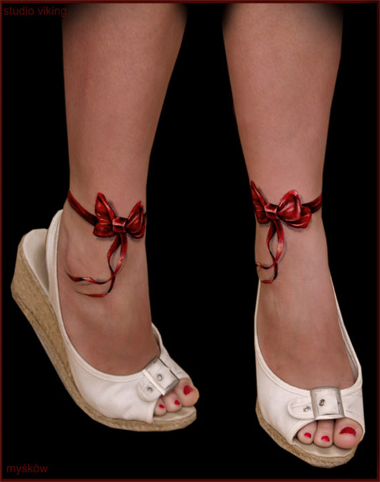 Attractive Red Ribbon Tattoos On Ankles
