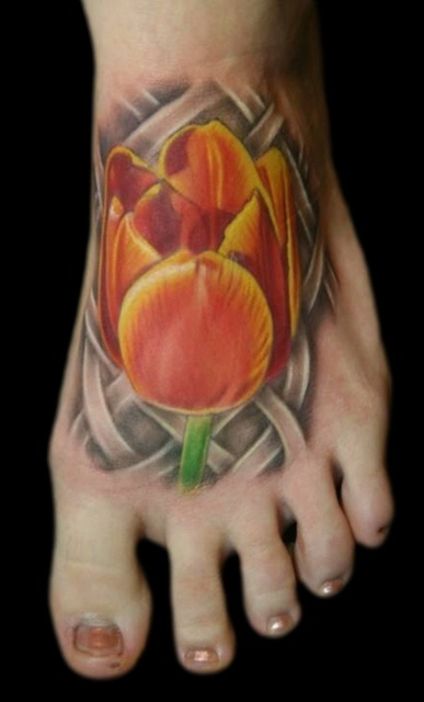 Attractive Tulip Tattoo On Foot