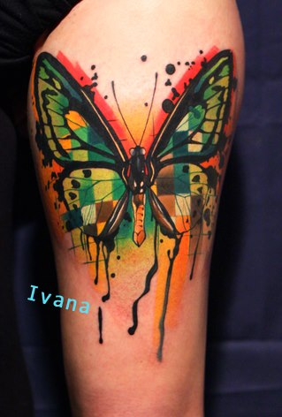 Attractive Watercolor Butterfly Tattoo