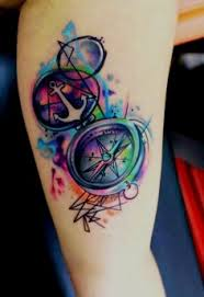 Attractive Watercolor Compass Tattoo