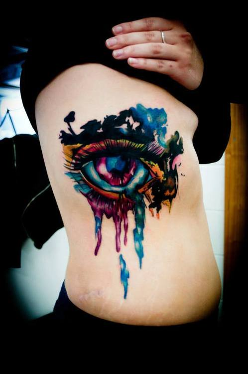 Attractive Watercolor Eye Tattoo On Ribs