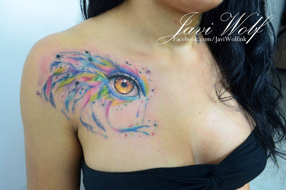 Attractive Watercolor Eye Tattoo On Right Chest
