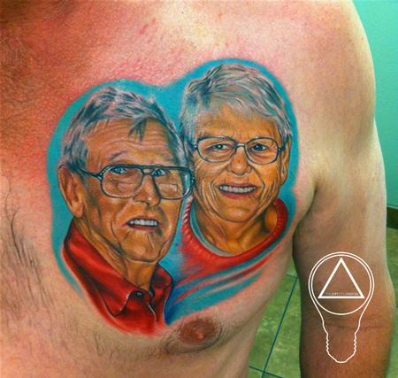 Australian Aussie Grandparent Memorial Color Portrait Tattoos