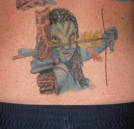 Avatar With Bow And Arrow Tattoo On Lowerback