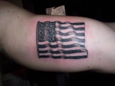 Awesome American Flag Tattoo On Muscles