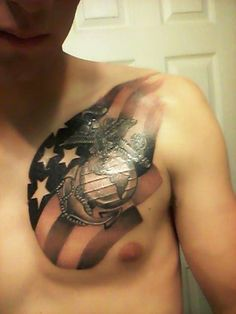Awesome American Tattoos On Chest