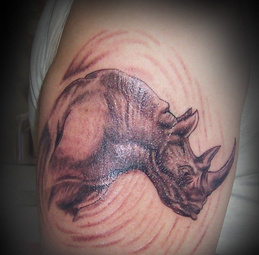 Awesome Animal Rhino Tattoo
