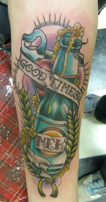 Awesome Beer Bottle And Fern Tattoos On Leg