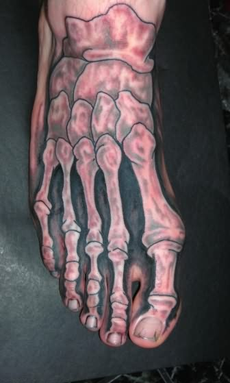 Awesome Bones Tattoo On Entire Foot
