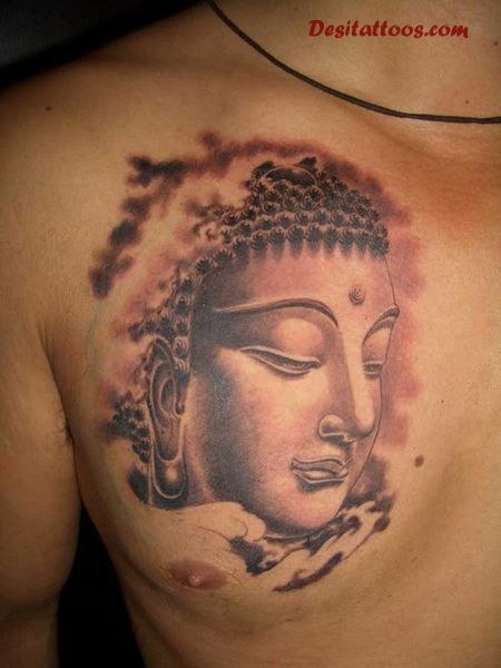 Awesome Buddha Portrait Tattoo On Chest