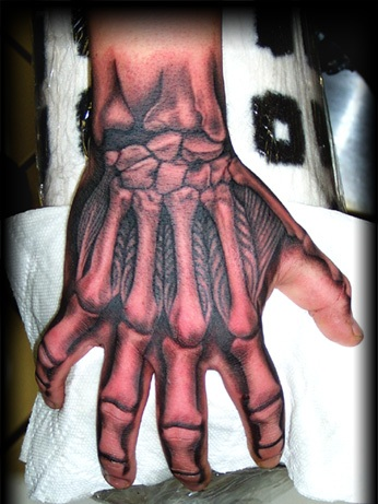Awesome Hand Bones Tattoo