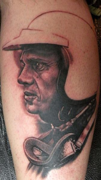 Awesome Helmet Face Portrait Tattoo