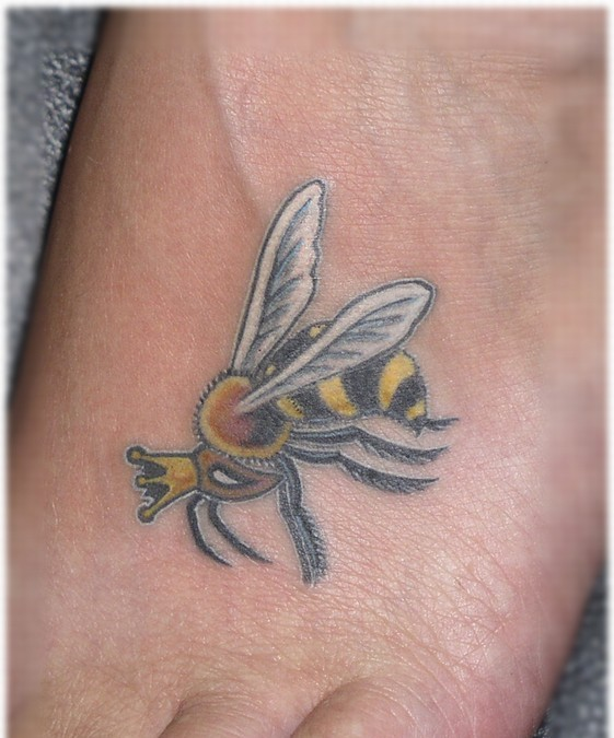 Awesome Queen Bee Tattoo On Foot