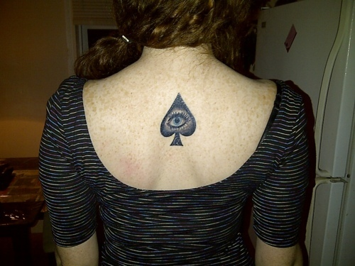 Awesome Queen Of Spade Tattoo On Upperback