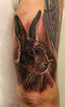 Awesome Rabbit Portrait Tattoo On Arm