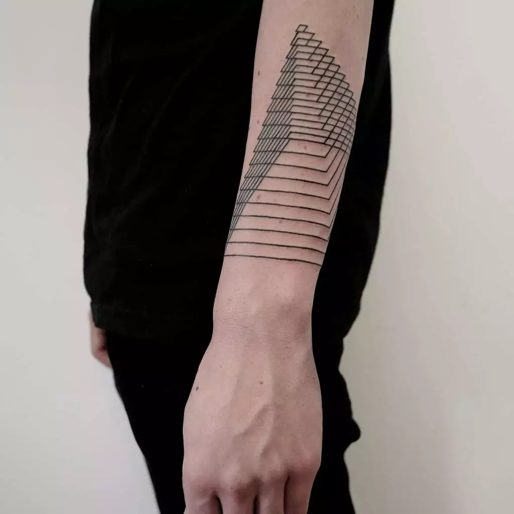 Awesome Skeletal Pyramid Tattoo On Lower Arm