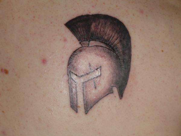 Awesome Spartan Helmet Tattoo