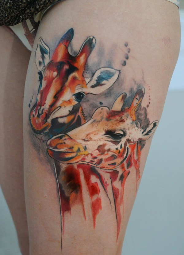 Awesome Watercolor Giraffe Tattoos On Thigh