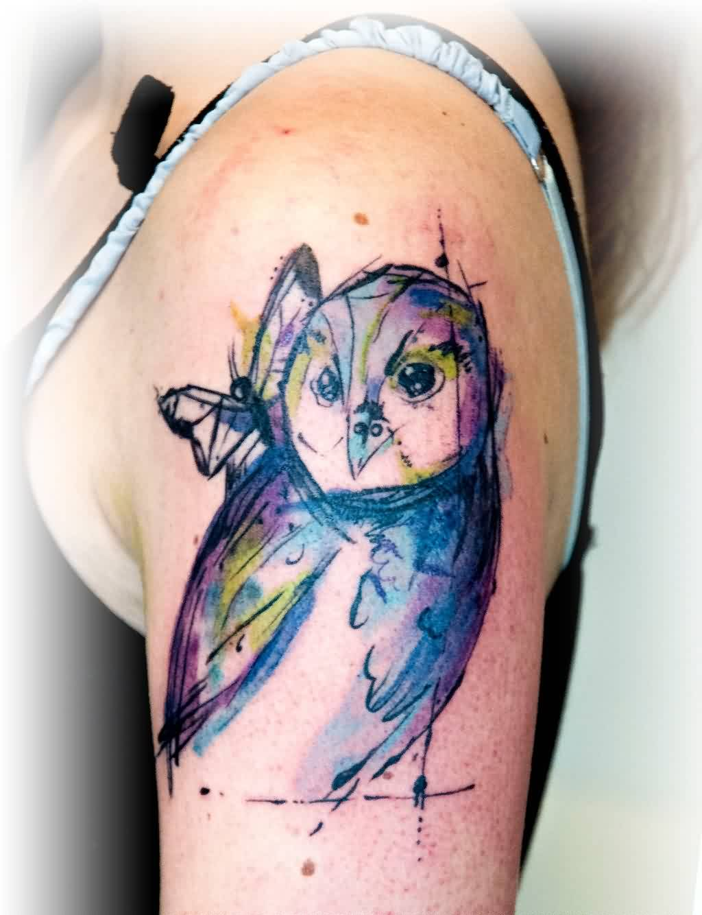 Awesome Watercolor Owl Tattoo On Biceps